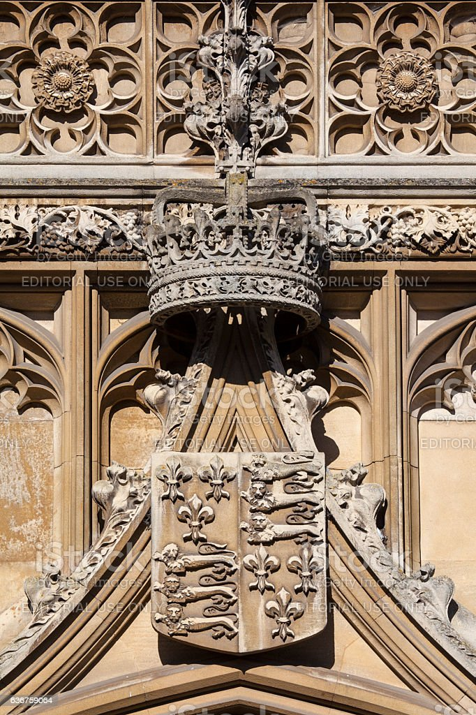 Royal Crown and Coat of Arms at King's College stock photo
