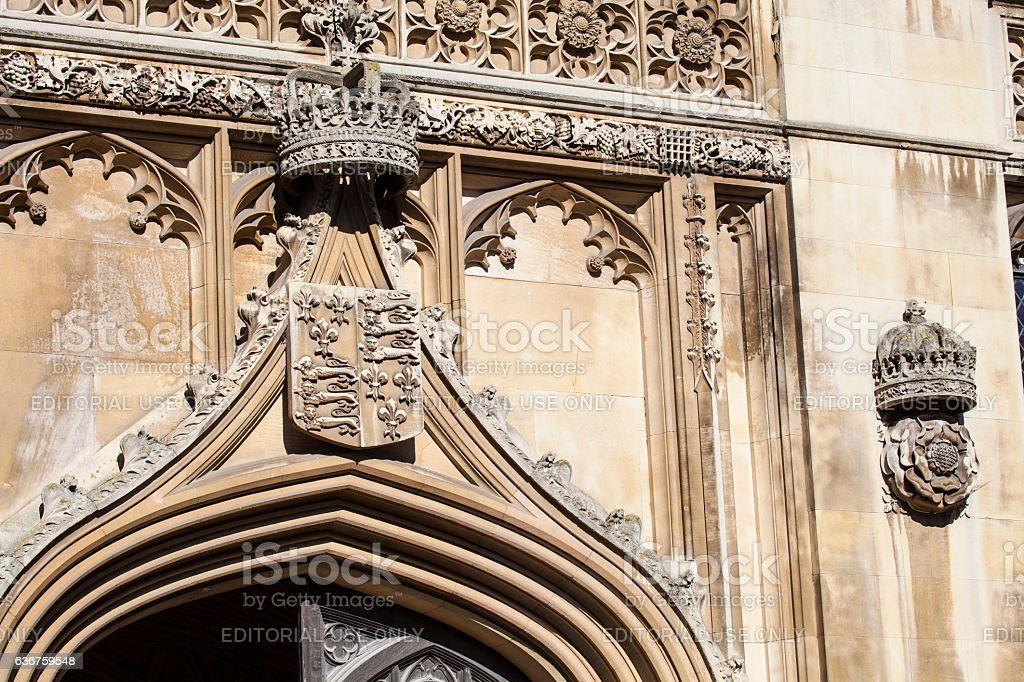Royal Crown and Tudor Rose at King's College stock photo