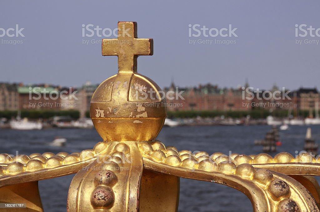Royal crown on a Skeppsholmen bridge. royalty-free stock photo
