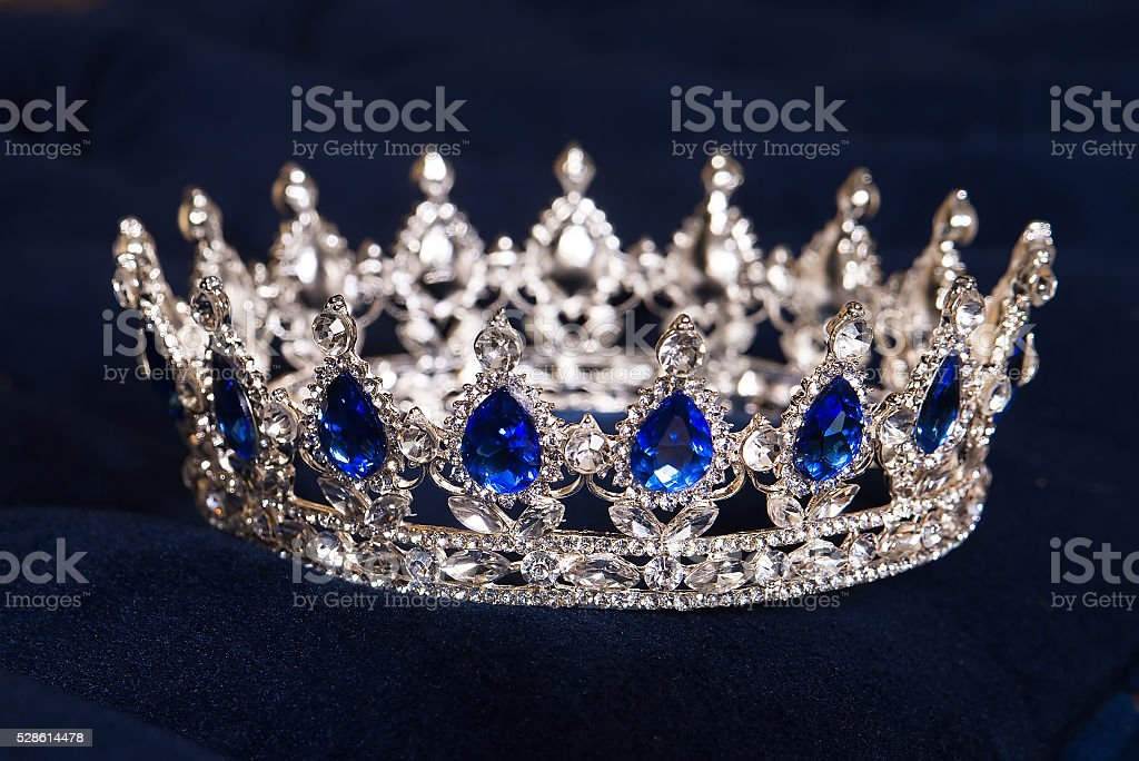 Royal crown with sapphires, luxury retro style. stock photo