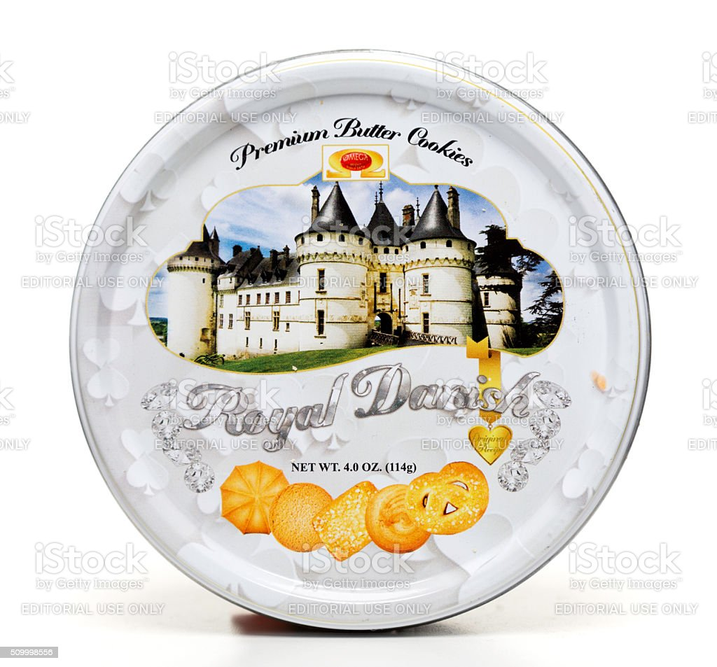 Royal Danish Premium butter cookies can stock photo