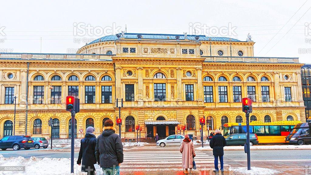 Royal Danish Theater in winter Copenhagen stock photo
