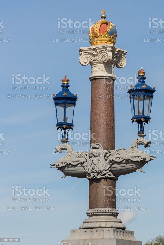 Royal decoration at Blauwbrug in Amsterdam. stock photo