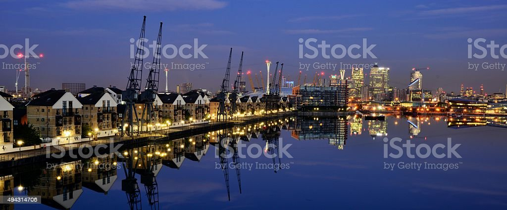Royal Docks Lonodn before Sunrise stock photo