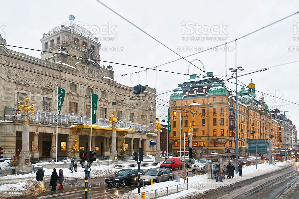 Royal Dramatic Theatre at Nybroplan in winter Stockholm stock photo