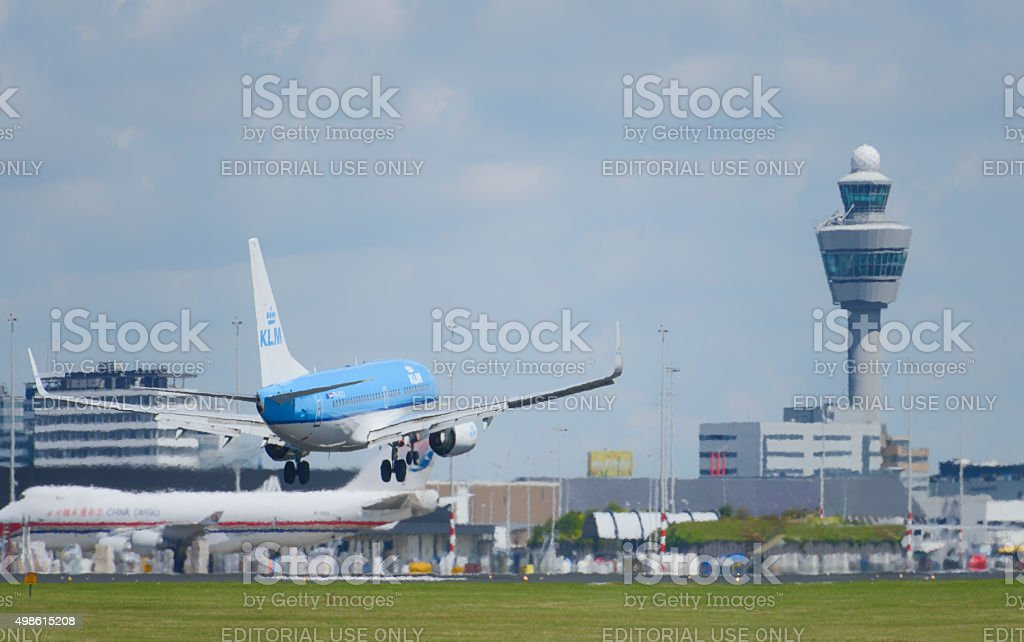 KLM Royal Dutch Airlines Boeing 737 landing at Schiphol airport stock photo