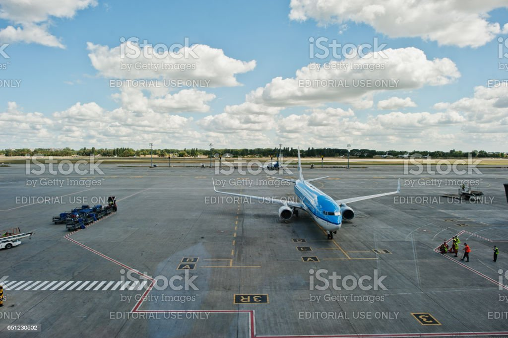 KLM Royal Dutch Airlines Boeing 737 stay at Boryspil airport  near Kyiv, Ukraine. stock photo
