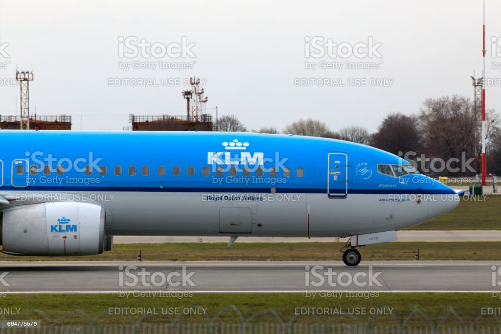 KLM Royal Dutch Airlines Boeing 737-800 aircraft running on the runway stock photo