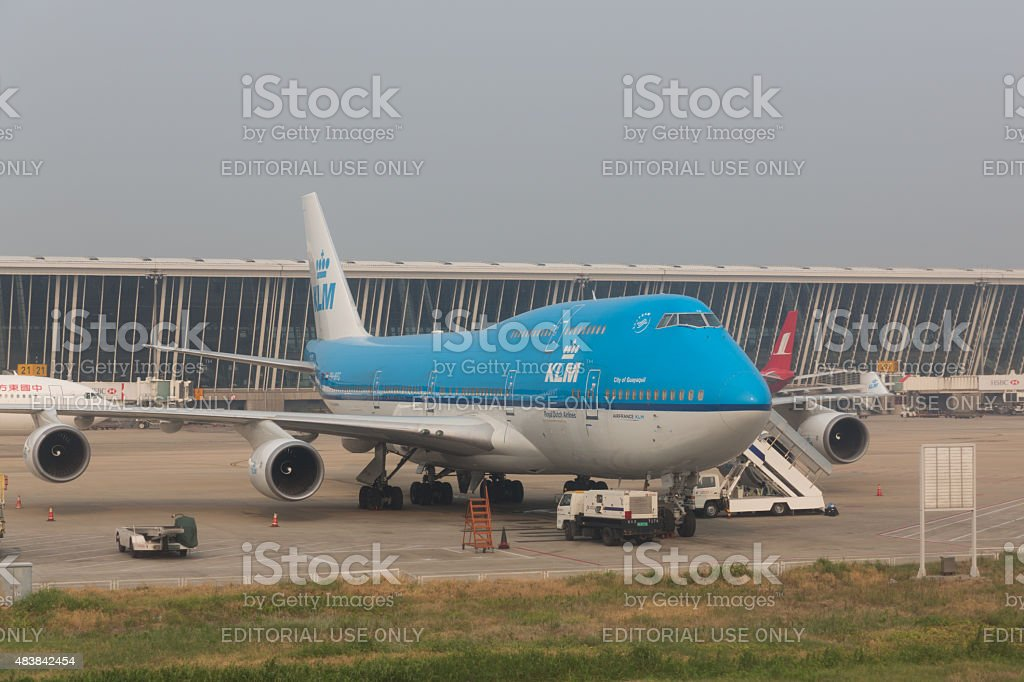 KLM Royal Dutch Airlines Boeing 747 stock photo