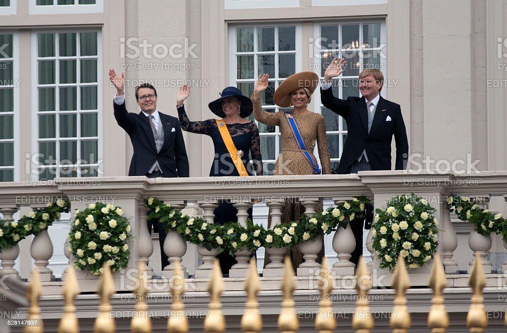 Royal dutch family is waving stock photo