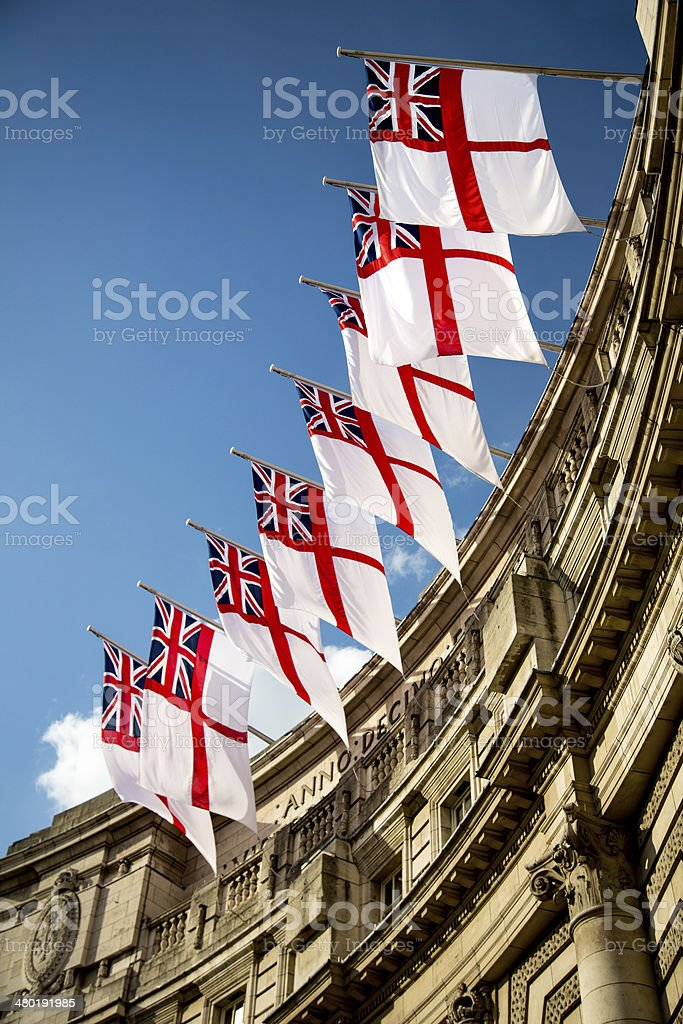 Royal Ensign Flags, Admiralty Arch, Westminster, London stock photo