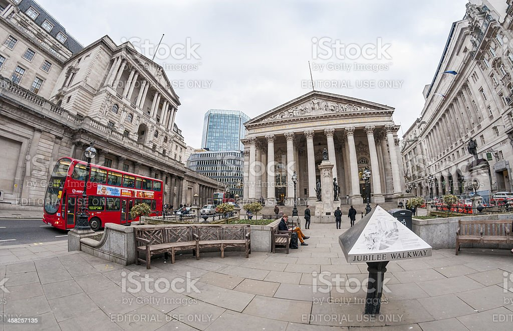 Royal Exchange Building In The Financial District Of London royalty-free stock photo