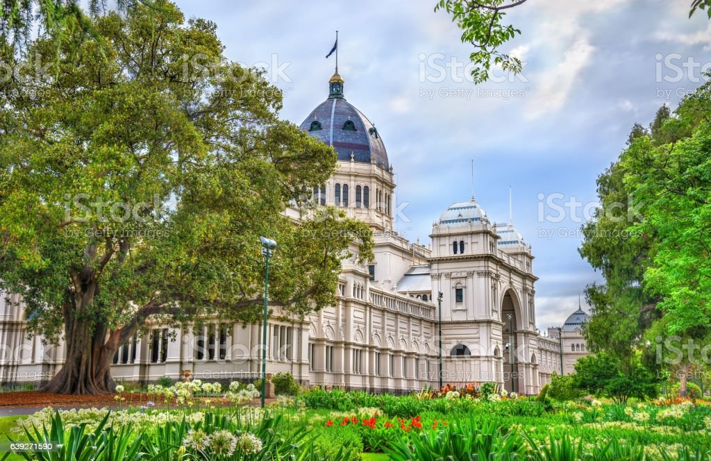 Royal Exhibition Building, a UNESCO world heritage site in Melbourne stock photo