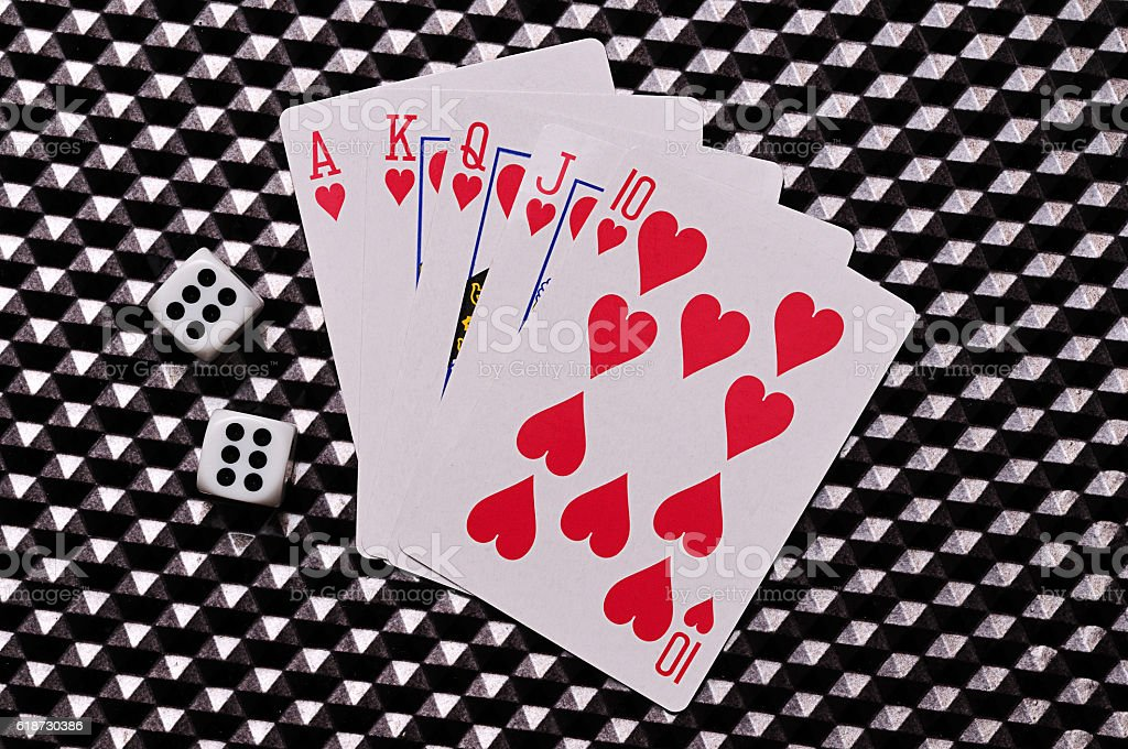 Royal flush and dice stock photo