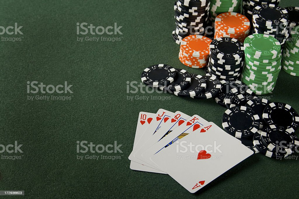 Royal flush and poker chips royalty-free stock photo