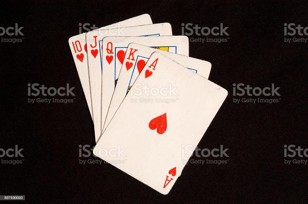 Royal Flush Card Hand stock photo