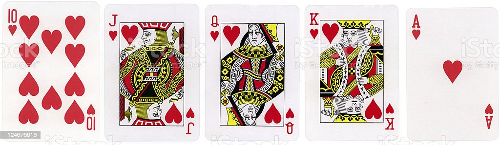Royal Flush Hearts stock photo