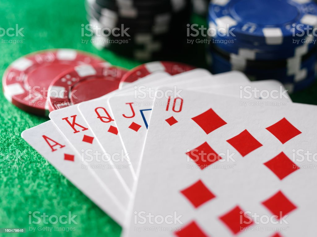 Royal Flush in a Game of Cards stock photo