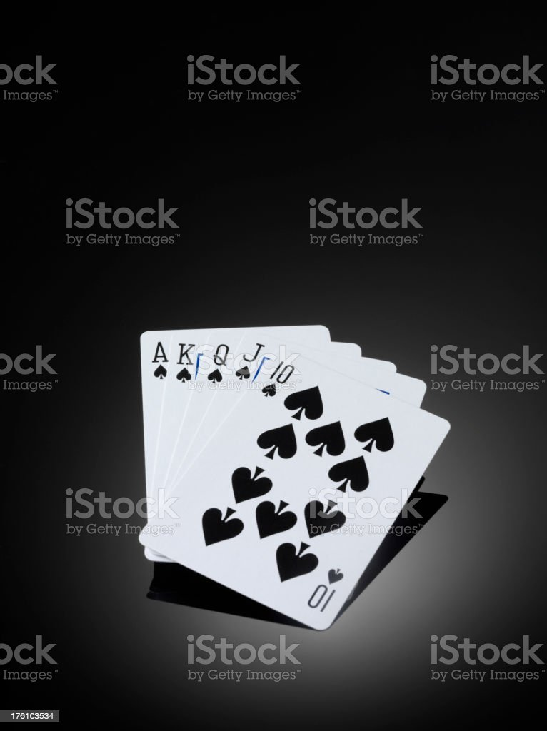Winning hand, in a game of cards.Copy space