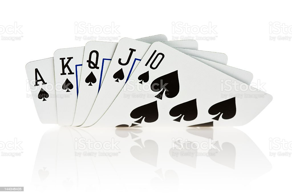 A royal flush in cards of the spade family stock photo