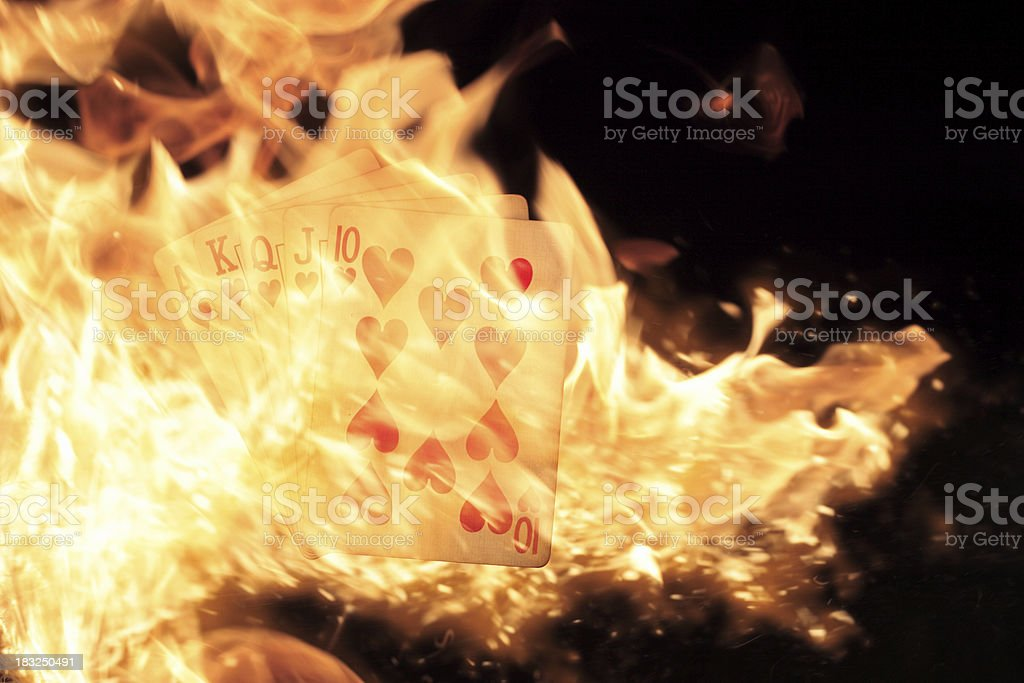 Royal Flush on Fire royalty-free stock photo