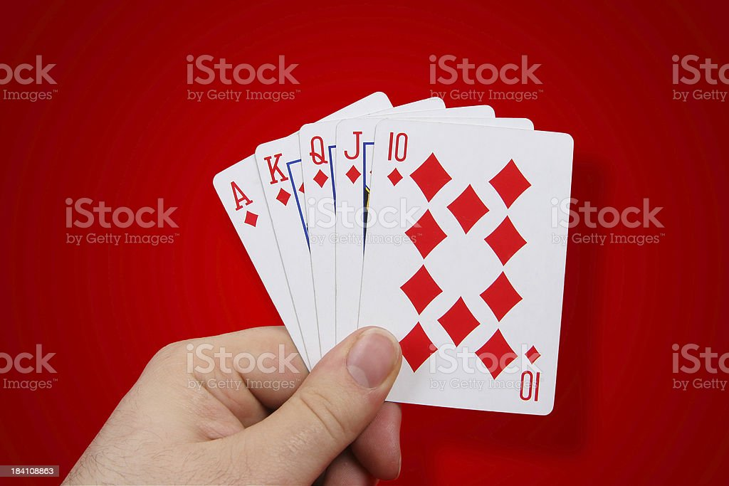 Royal Flush on Red with shadow stock photo