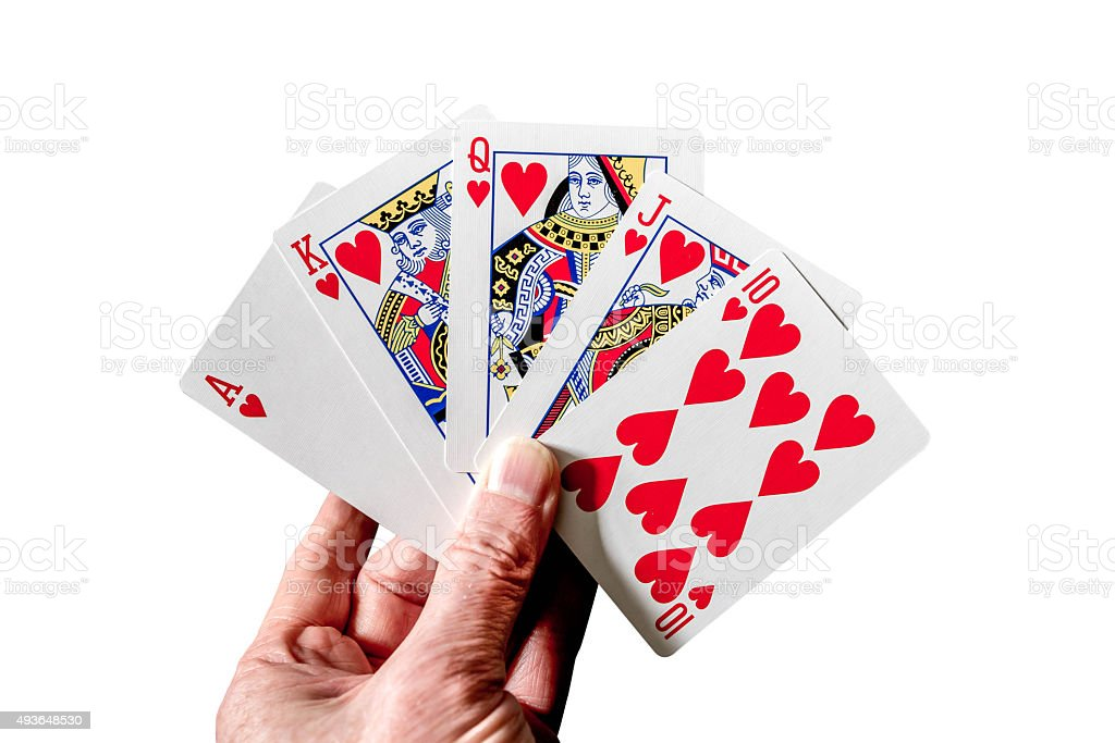 Royal flush poker hand cards isolated on white stock photo