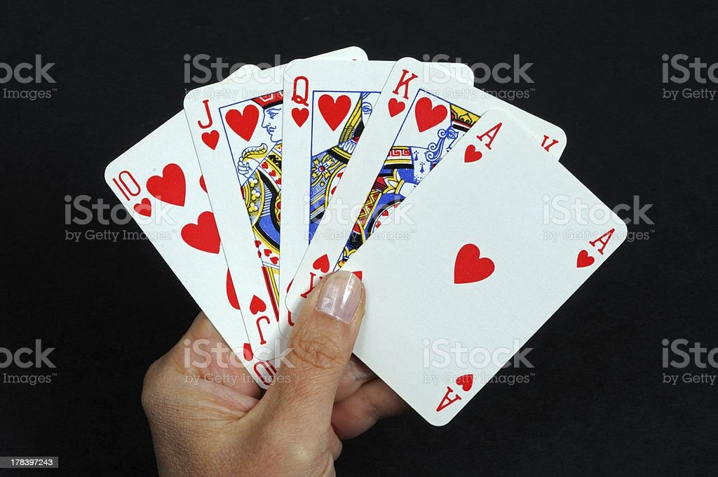 Royal flush poker hand. stock photo