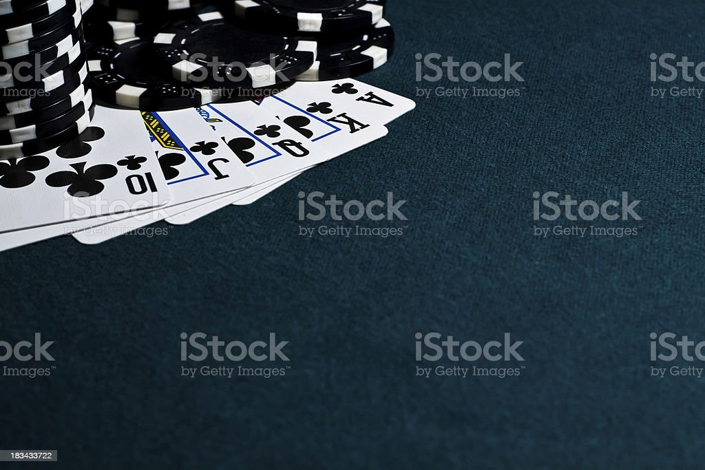 Royal Flush with Black Poker Chips royalty-free stock photo