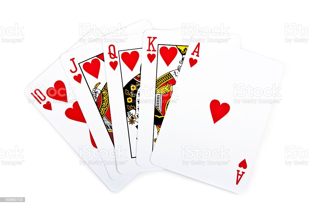 Royal flush with hearts on white background stock photo