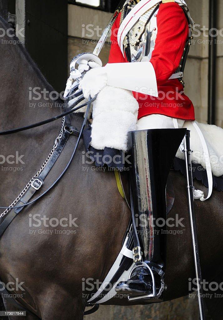 Royal guard at British Cabinet office. stock photo
