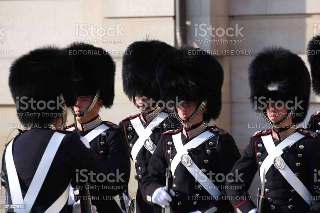 Royal Guard in Amalienborg Castle in Copenhagen in Denmark stock photo