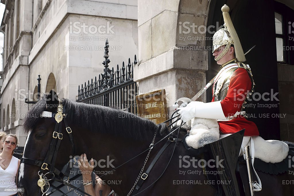 Royal Guard in front of Buckingham Palace London royalty-free stock photo