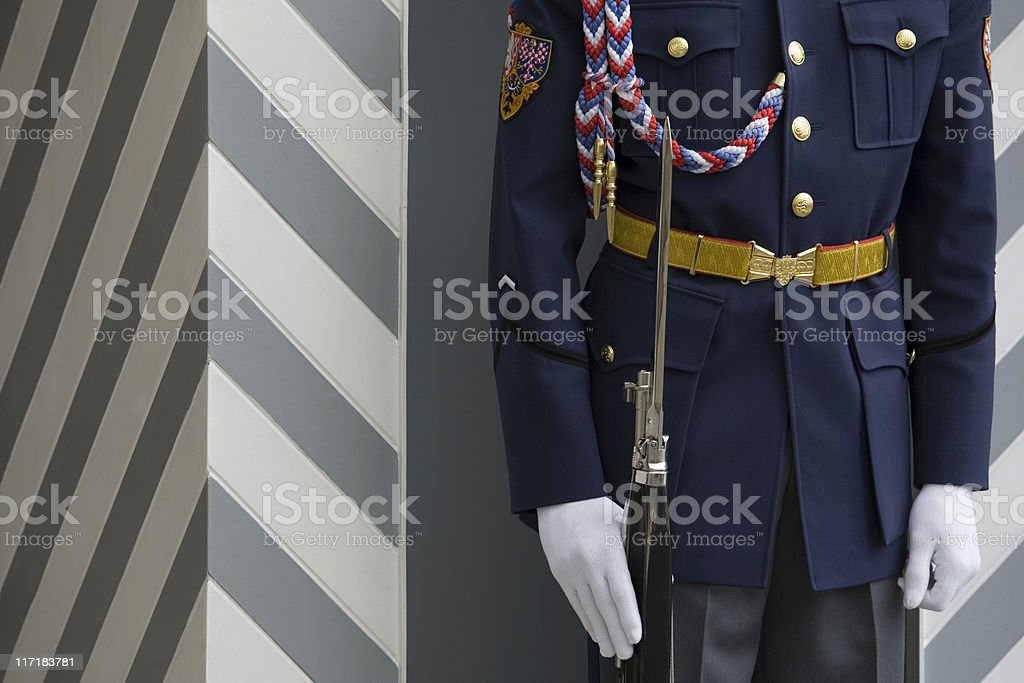 royal guard in front of Prague Castle royalty-free stock photo
