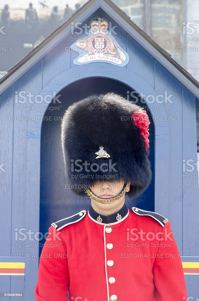 Royal Guard in front of Quebec Citadel stock photo