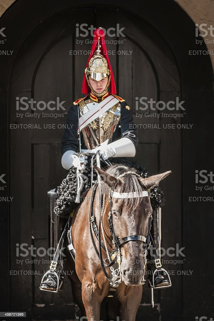 Royal Guard mounted trooper of Blues and Royals stock photo