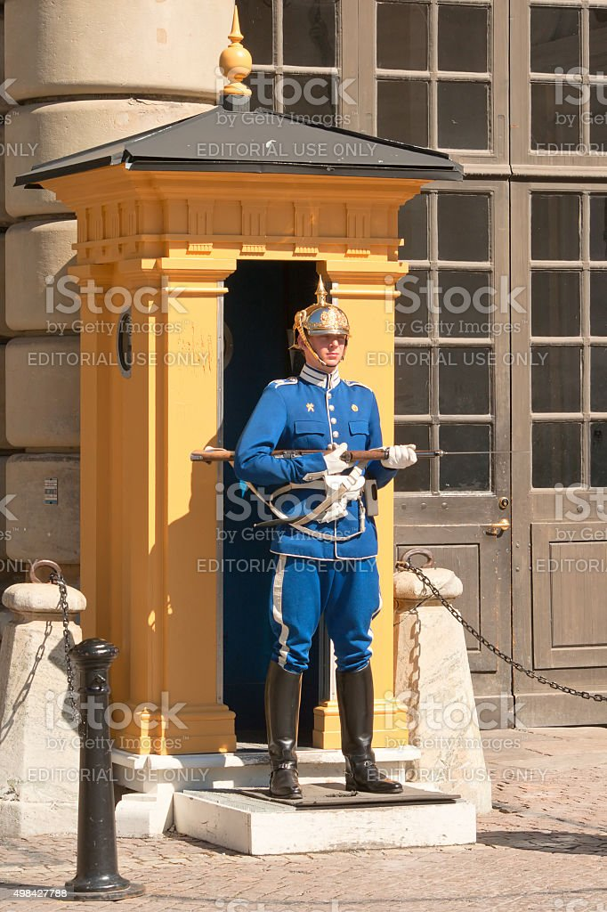 Royal Guard soldiers with their eyes closed stock photo