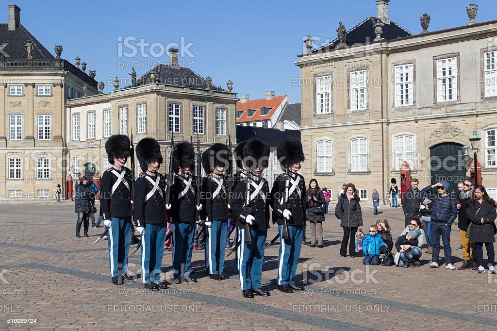 Royal guards at Amalienborg Palace in Copenhagen, Denmark stock photo