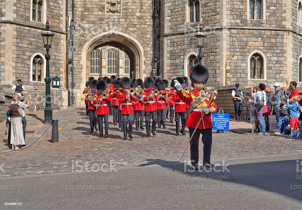 Royal Guards music band coming out of Windsor Castle, England stock photo