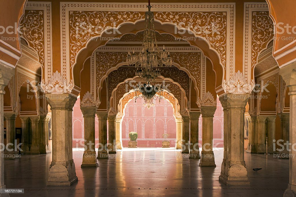royal hall in Jaipur palace, India stock photo