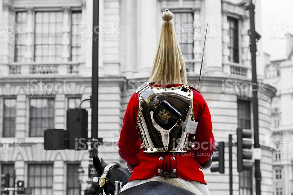Royal Horse Guards soldier. Parade in London, England. stock photo