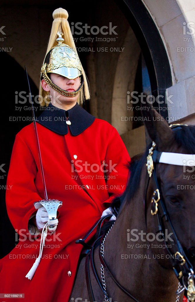 Royal Horseguard in London stock photo