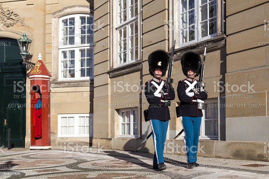 Royal Life Guards at Amalienborg Palace stock photo