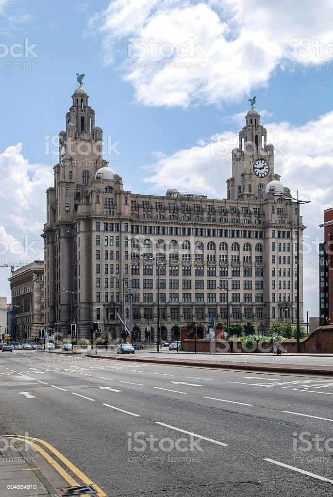 Royal Liver Building from the Strand Street in Liverpool stock photo
