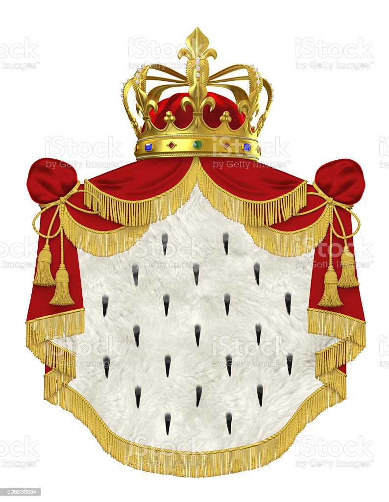 Royal mantle with crown stock photo