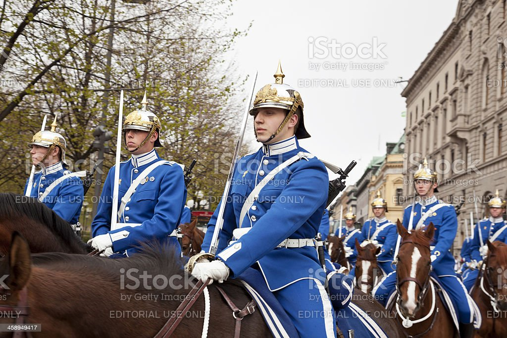 Royal mounted guard  in Stockholm royalty-free stock photo