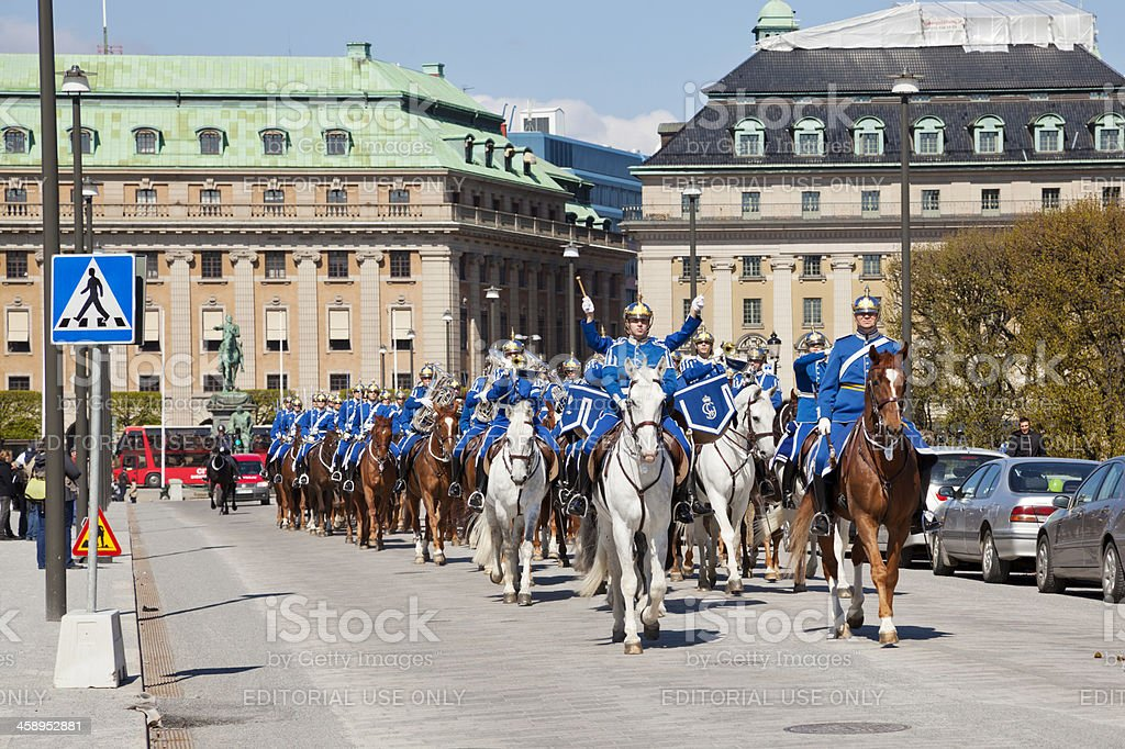 Royal mounted guard with military band in Stockholm royalty-free stock photo