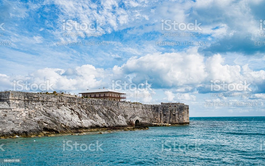 Royal Naval Dockyard Keep with Commissioner's House, Bermuda stock photo