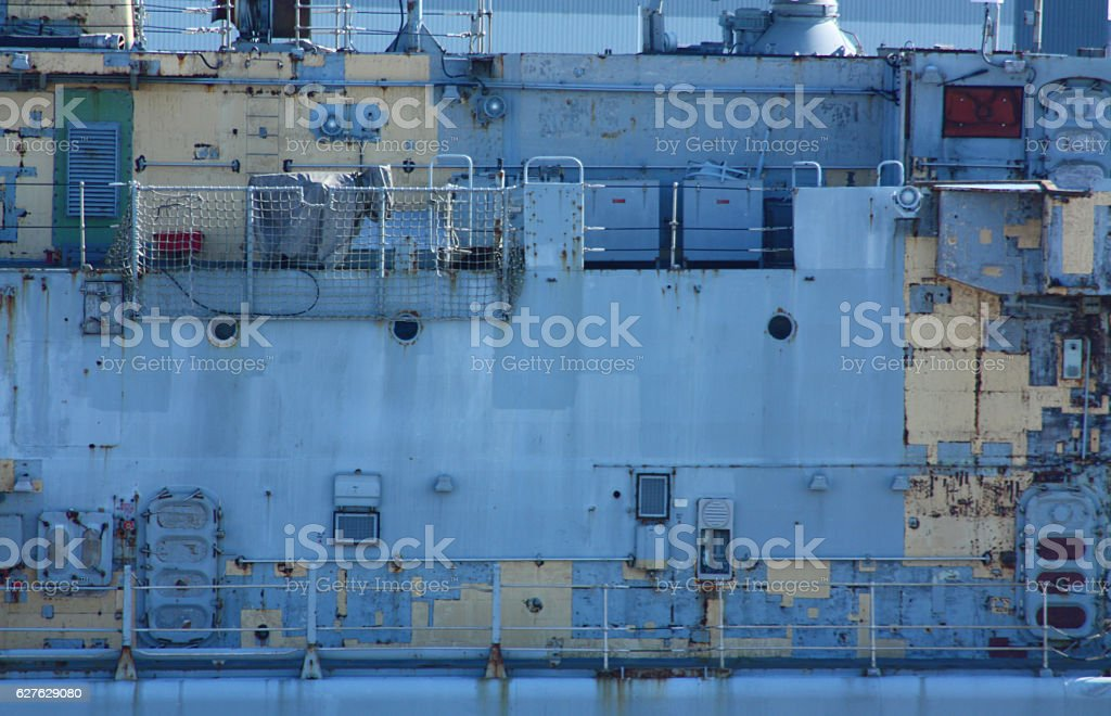 Royal Naval warship bulkhead stock photo