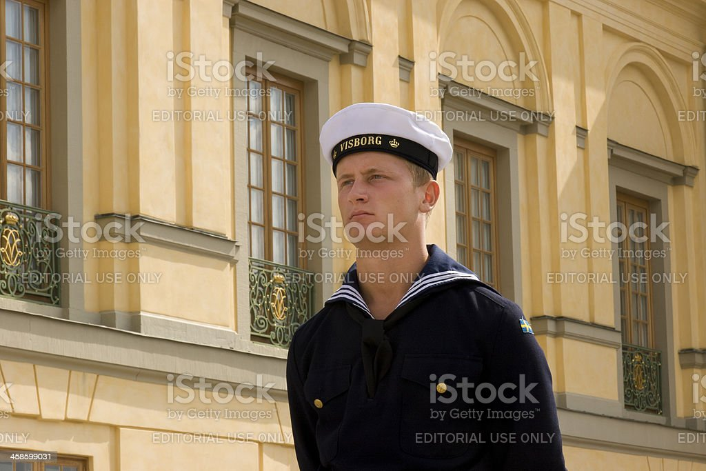 Royal Navy Guard at Swedish Government Palace, Stockholm, Sweden royalty-free stock photo
